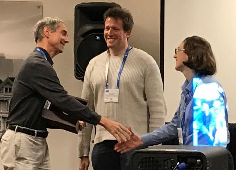 Martin Gruebele presented with the Nakanishi Prized from Matthias Heyden and Andrea Markelz at ACS Spring 2017